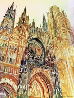 Having studied architecture at a Polish university, Maja Wronska gracefully paints on paper the ornamented facade of Rouen Cathedral, as sho...
