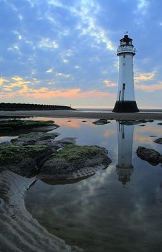 """*Perch Rock Lighthouse at New Brighton on """"The Wirral"""" in the United Kingdom near Liverpool."""