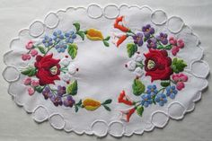 Vintage Hungarian Kalocsa Hand Embroidered Floral Doily Roses Pansies Rosebuds #HandEmbroideredKalocsa