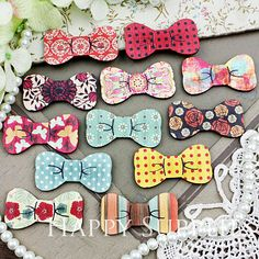 6pcs Small Handmade Colorful Lovely Bowtie Charms / Pendants (CWK08-S)