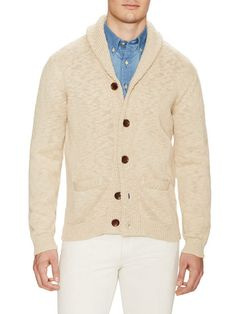 Uneven Cotton Shawl Cardigan by GANT at Gilt