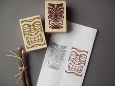Hawaiian Tikis Rubber Stamps Set of 2