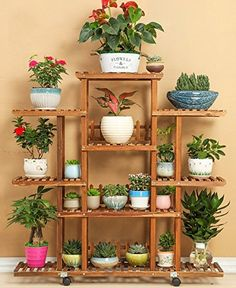Wood Flower Rack Home Garden Decor 6 Tier Etagere Plant Shelves Pot Display Planter Stand Flowers Patio Deck Indoor Outdoor Wooden Plant Stands, Diy Plant Stand, Small Plant Stand, Indoor Flower Pots, Indoor Plants, Indoor Outdoor, Hanging Plants, Hanging Gardens, Indoor Succulents