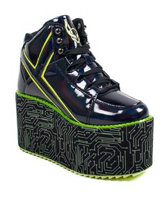 Jun 2019 - Get stomping on the dancefloor in these Cyberdog x YRU platform shoes!Black Patent PU upper Black circuit printed satin wrapped bottom Spice Girls Shoes, Fashion Bags, Fashion Shoes, Emo Fashion, Cyber Dog, Adidas, Platform Shoes, Comfortable Shoes, Body