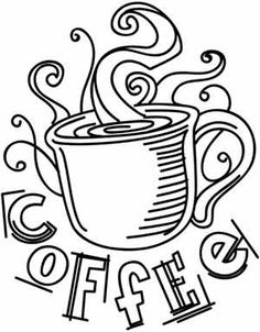 Light and sketchy, this jittery coffee design is delicious on T-shirts and tea towels! Downloads as a PDF. Use pattern transfer paper to trace design for hand-stitching.