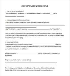 Home Remodeling Contract Template -7+ Free Word, PDF ...