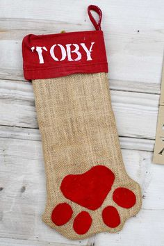 Free Pattern For A Cute Personalized Dog Christmas Stocking - Pillar Box Blue Unique Christmas Stockings, Dog Christmas Stocking, Diy Stockings, Christmas Sewing, Christmas Ornaments, Christmas Tree, Classy Christmas, Christmas Makes, Christmas Ideas