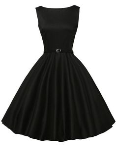 Belted Fit & Flare Sleeveless Dress - Black Mobile Site