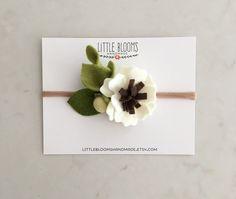Felt Flower Headband  IVORY by LittleBloomsHandmade on Etsy