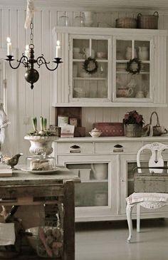 White Shabby Chic Kitchen.