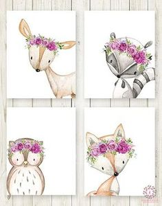 4 Deer Fox Owl Raccoon Boho Wall Art Print Purple Woodland Bohemian Floral Nursery Baby Girl Room Set Lot Prints Printable Decor