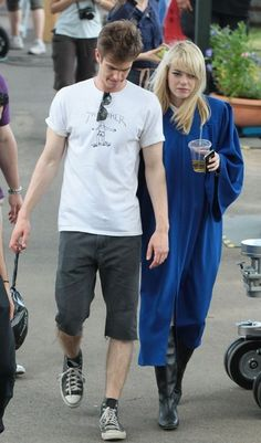 Andrew Garfield and Emma Stone on set of 'Spider man 2'