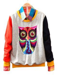 Grey Long Sleeve Cartoon Owl Print Sweatshirt US$35.48