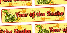 Chinese New Year of the Snake Display Banner  - Pop over to our site at www.twinkl.co.uk and check out our lovely Chinese New Year primary teaching resources! chinese new year, year of the snake, snake year, year of the snake banner #chinese_new_year #teaching_resources