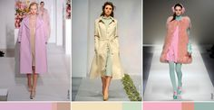 CANDY PASTELS make a surprise appearance in the fall/winter shows.  The mint and peach colors from the previous summer season, are evolving into washed-out, barely-there shades for fall.  The ever-changing weather calls for multiple color and fabric options to meet the needs of the consumer.  2012 Fall/Winter - MILAN Fashion Week