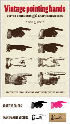 Vintage vector pointing hands $3 {GraphicRiver}