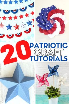 Celebrate Independence Day with DIY Red, White, and Blue Craft Ideas made with Paper and create new 4th of July Traditions. Click here! #thecraftyblogstalker #papercrafts #papercraftideas #4thofjuly #americancrafts #patrioticcrafts Tissue Paper Garlands, Paper Bunting, Paper Rosettes, Mason Jar Crafts, Mason Jar Diy, Preschool Crafts, Crafts For Kids, Craft Tutorials, Craft Ideas