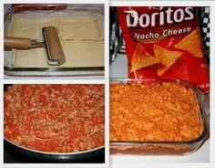 Dorito Taco Bake - someone of FB suggested adding shredded lettuce, sour cream and green onions on top after baking - great idea!  I might even put some fresh diced tomatoes, too.  Yum!