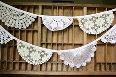 vintage lace doily banner for dessert table