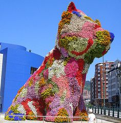 Jeff Koons' giant Westie made of flowers, Guggenheim Museum, Bilbao Spain...what a shame was not white.