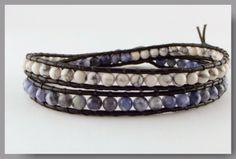 Leren heren double wrap armband Sodalite/Howlite van Unycq  op DaWanda.com