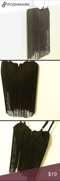 ✨Sexy Black Metallic Tube Top✨ Black and Metallic Fringes Tube Top with Spaghetti Straps. Made from Polyester, Spandex, Olefin, Metallic Yarn, and Other Fibers. In Perfect Condition Just for You! Forever 21 Other