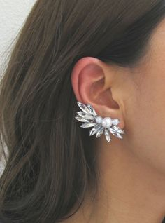 Rhinestone Pearl Ear Cuff - Right Ear Cuff, Statement Ear Cuff, Crystal Ear Cuff, Ear Climber, Pearl Ear Cuff, Designer Inspired Earrings
