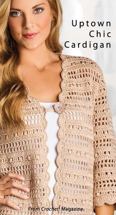 "crochet ""Uptown Chic Cardigan from the Spring 2014 issue вязание Crochet! Order a digital copy here: www. Crochet Bolero, Gilet Crochet, Crochet Coat, Crochet Cardigan Pattern, Crochet Jacket, Vest Pattern, Crochet Blouse, Diy Crochet, Crochet Clothes"
