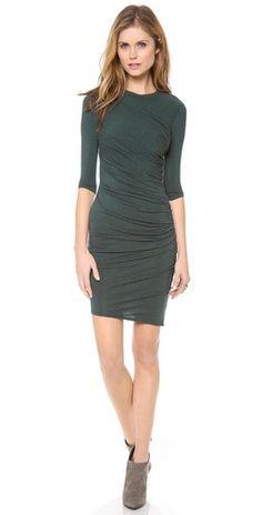 HELMUT Helmut Lang Nova Jersey Ruched 3/4 Sleeve Dress | SHOPBOP