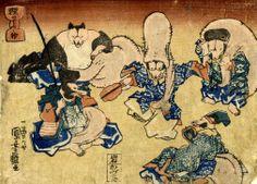 <狸の七ふく神 : TANUKI NO SHICHIFUKUJIN> 7 GOD OF HAPPINESS BY RACCOON DOG KUNIYOSHI UTAGAWA 1798-1861 Last of Edo Period