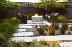 Modern landscaping, landscape design, landscape architecture, hardscaping, hardscape, outdoor seating, firepit, backyard, patio