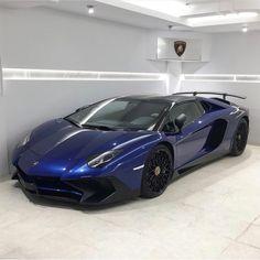 "Lamborghini Aventador Super Veloce Coupe painted in Blu Sideris w/ Gold ""SV"" stickers  Photo taken by: @lamborghiniazabu on Instagram"