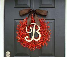 FALL WREATH SALE Berry Monogram Wreath Fall by ElegantWreath