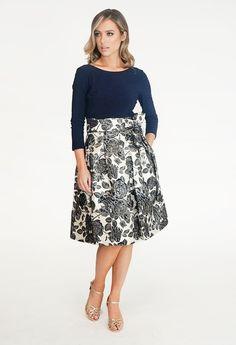 Jessica Howard Navy & Cream Floral Pattern Dress | Pamela Scott Pattern Dress, Dress Patterns, Lace Skirt, Midi Skirt, City Style, Navy Blue Dresses, Cocktail Dresses, Dresses Online, Shoulder Dress