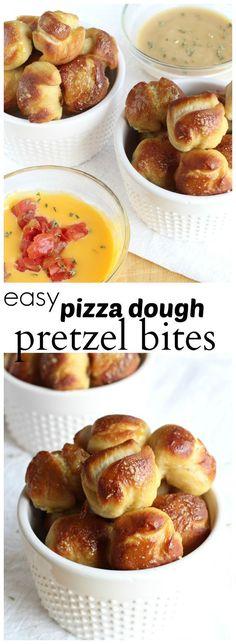 Super easy pretzel bites made with pizza dough. #MinionsMovieNight #ad
