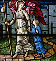 The angel that looks after all children Stained Glass Church, Stained Glass Angel, Stained Glass Windows, Holy Mary, Catholic Archangels, Painting On Glass Windows, San Rafael, Archangel Raphael, I Believe In Angels