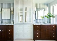 Interior Design Ideas . Andrew Howard Interior Design. ...they didn't mention it, but whatever they used on the walls behine the mirrors and countertops in that stripe is absolutely beautiful!