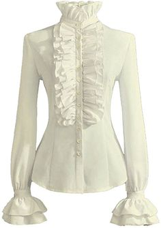 64cd213f527a PrettyGuide Women Stand-Up Collar Lotus Ruffle Shirts Blouse S White US  standard size Silky