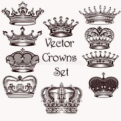 Download Collection Of Vector Hand Drawn Crowns For Design Stock Vector - Image: 45204549