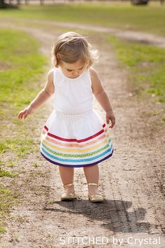Rainbow Bias Tape Skirt by stitchedbycrystal - great tutorial!  And such a cute, quick project!