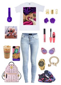 """School ✌?️"" by montie-aka-monty ❤ liked on Polyvore featuring moda, Object Collectors Item, NIKE, Bling Jewelry, Linda Farrow, NARS Cosmetics, Michael Kors, MCM, Beats by Dr. Dre ve Juicy Couture"