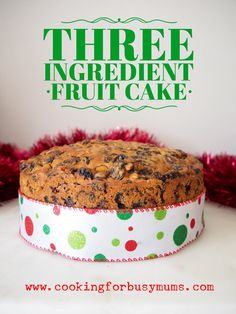 Three Ingredient Fruit Cake - I soaked this overnight and added a medium egg and 1/2 cup orange juice the next morning... and it's delicious warm too Xmas Food, Christmas Cooking, Christmas Desserts, Christmas Cakes, Christmas Recipes, Christmas Pudding, Christmas Bread, Christmas Dishes, Christmas Foods