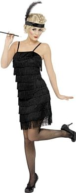 Fringe Flapper Costume, Black, Dress, Head Piece with Feather and Garter. Perfect for Roaring 20s and Gangster themed parties.  £29.94
