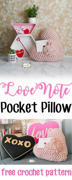The Love Note Pocket Pillow | Crochet this easy, amigurumi style Valentine's Day pillow | Free pattern from Sewrella