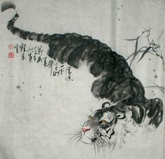 Hand-painted Chinese painting: Tiger - Chinese Painting The Leading Chinese Painting Supplier in China Have Huge Selection of Original Chinese Art Painting. Watercolor Tiger, Tiger Painting, Ink Painting, Korean Painting, Japanese Painting, Chinese Painting, Asian Tigers, Japanese Tiger, Asian Tattoos