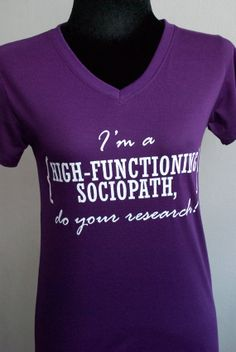 SHERLOCK : I'm a HIGH-FUNCTIONING sociopath,do your research T-shirt  Short Sleeve on Etsy, $19.00