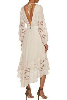 Haute HippieDo Right open-back tulle-paneled silk crepe de chine midi dress