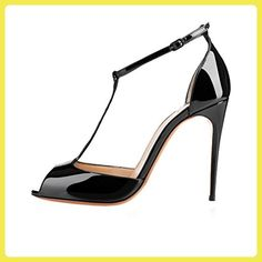 Minitoo , Damen Durchgängies Plateau Sandalen mit Keilabsatz , Schwarz - schwarz - Größe: 41