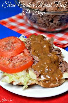#Slow Cooker  #Roast Beef Po Boys is cooked on low for 10 hours.  It is then chopped in small pieces and put with gravy to make this amazing Po Boy.