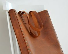 Brown Leather Tote for Women Leather Bag  Minimalist and